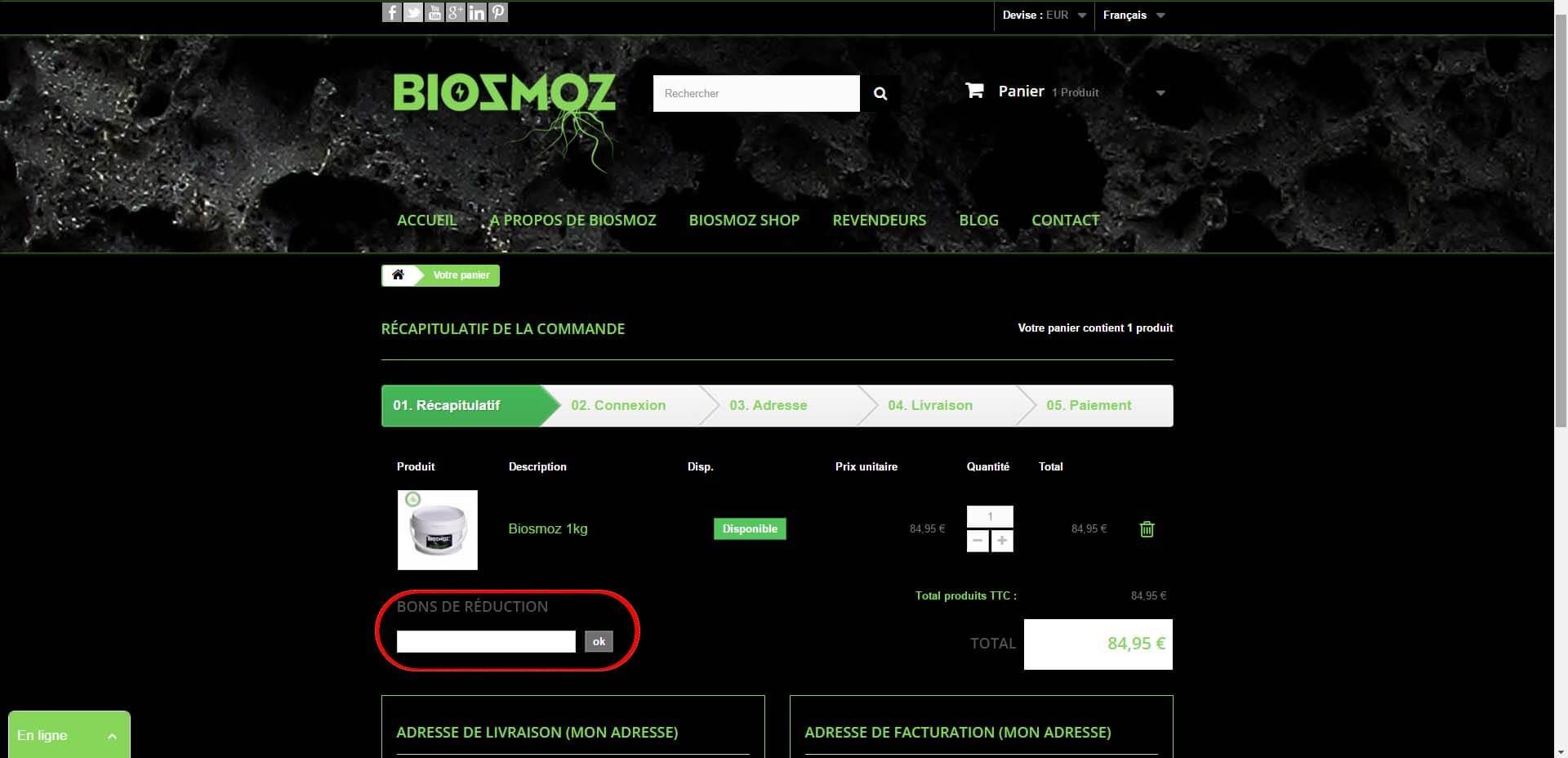 Explication pour utiliser les codes promo BiosmoZ