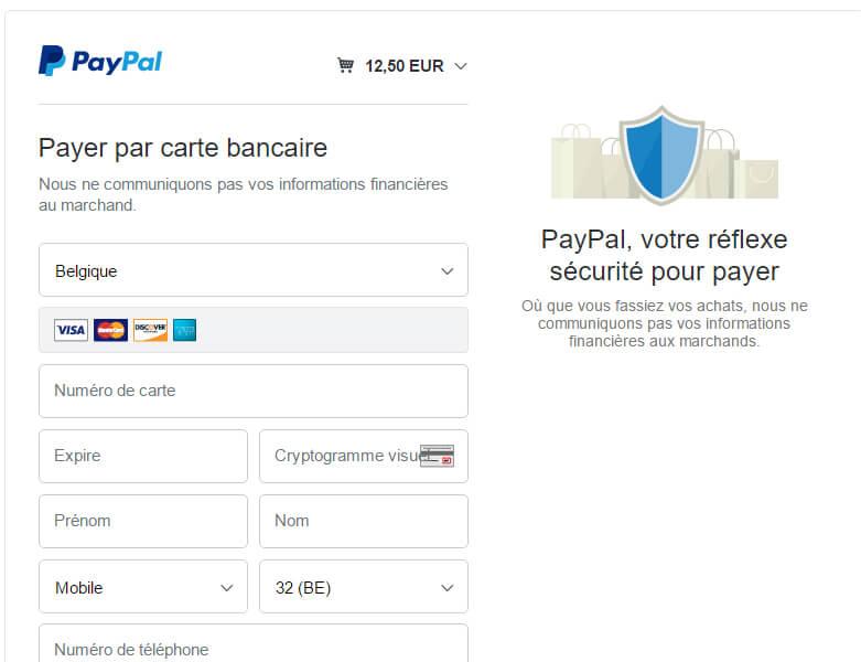 Page PayPal pour payement par CB sans compte PayPal